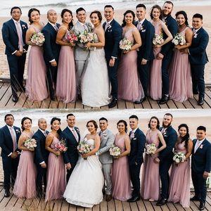Beach rubor rosa vestidos de dama siempre Pretty una línea V-cuello novia sin mangas vestido de fiesta elegante de la boda de la Mujer