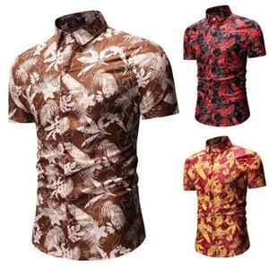 Bouton manches Lapel cou Chemises d'été Mode Casual Hommes Chemises Feuilles Imprimer Mens Designer Shirts Beach Holiday style court