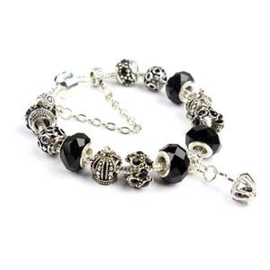 Atacado-Charm Bracelet 925 Pandor Pulseiras para mulheres Royal Crown Pulseira de cristal roxa Beads DIY jóias com logotipo