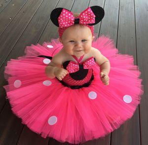 Ragazze Pink Mickey Cartoon Tutu Dress Baby Crochet Tulle Dress con puntini bianchi e fascia bambini Party Cosplay Dress Tutu di balletto Y190515