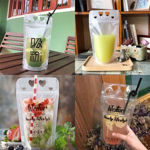 La bolsa de plástico de bebidas bebida bolsas de embalaje creativo estilo de la bolsa para el jugo del agua de la leche letras caliente de la venta 0 3 mil millones B2