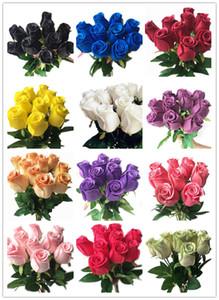"""una pieza falsa tacto verdadero Rose simulado látex Rosas 16.93"""" 14 colores para la fiesta de la boda artificial decorativo Flores"""