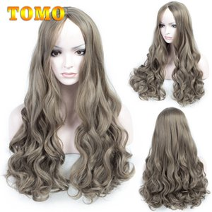 TOMO Hair Mixed Ash Grey Blonde Wavy Wig 26inch Long Heat Resistant Loose Wave Synthetic Wigs Black White Woman Daywear Cosplay Party Wig