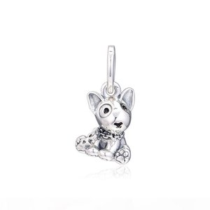 2019 Mother's Day 925 Sterling Silver Jewelry Bull Terrier Puppy Charm Beads Fits Pandora Bracelets Necklace For Women DIY Making