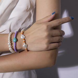 New Fashion BohemianIrregular Shape Imitation Pearl Combination Bracelet Colorful Rice Beads Stone Charm Bracelet For Women Girl