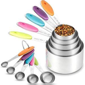 10 piezas de las tazas de cucharas Set de acero inoxidable de la taza de medición Cuchara para Hornear té café utensilios de cocina de medición
