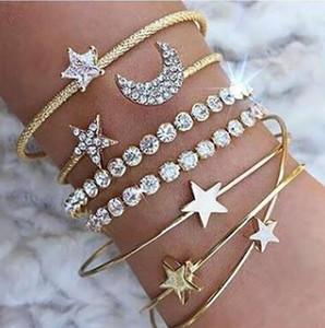 -Style explosão pulseira grandes europeus e americanos diamante e estrela da lua de abertura pulseira de quatro peças set pulseira