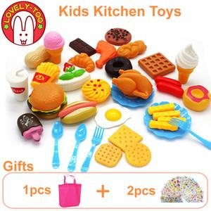 34pcs crianças Cozinha Brinquedos de corte de frutas de plástico vegetal Ice Cream Bebida Food Kit Kat Pretend Play Educação Toy For Kids Y200428