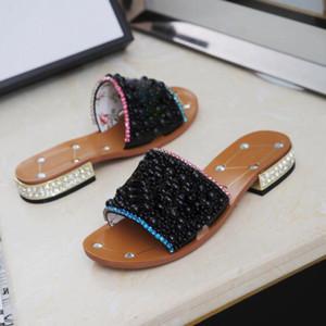 Sandales Hot Vente- femmes Les femmes d'été de travail à faible talon strass Pearl Designer chaussures habillées mode tendance classique BIG Si