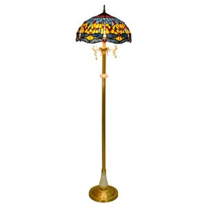 Nordic creative blue dragonfly floor lamp Tiffany stained glass living room dining room bedroom bar club pure copper art floor lamp TF076