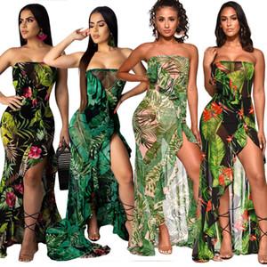 Green Floral Leaf Ruffles Dress High Slit senza spalline Sexy Mesh Sheer Dresses Off Spalla Open Back Summer Beach Maxi Sundress