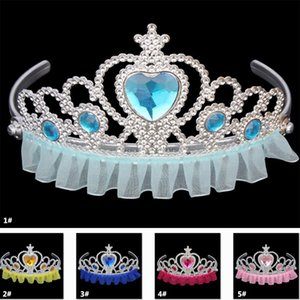 Cosplay Kostüm Kraliyet Tiaras Kızlar Prenses Taç Plastik Dantel Kenar Çocuk Çocuk Yetişkin Rhinestone Saç Aksesuarları Parti Favor XD20078