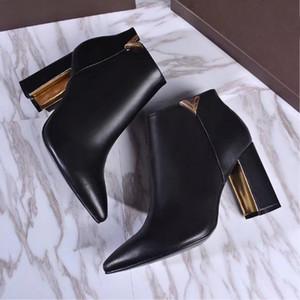 Bottes en cuir de bottes de chaussures de vente chaude-nouvelles femmes dames hiver Designer 9.5CM talon haut pointu Slip-On chaussures noires