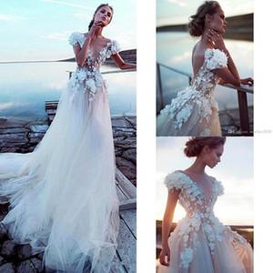 2020 do casamento de praia Vestidos A Cap vestido floral linha V Neck Lace 3D apliques Bohemian casamento luva Trem da varredura Boho Vestidos De Novia 753
