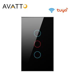 AVATTO Tuya US Wifi Wall Switch, Smart Light Switch, Glass Panel Touch-Sensor interruptor 1 2 3 Gang Work with Alexa,Google Home