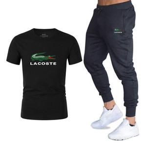 Été 100% coton Shorts + court Costumes de sport pour hommes occasionnels Tee shirt Homme Survêtement de jogging Sportswear Course à pied Jeux de football