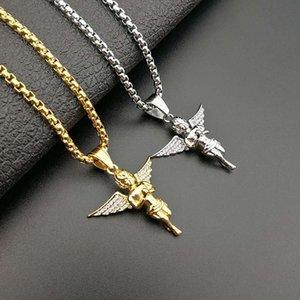Collana Hip Hop Strass asfaltata Bling fuori ghiacciato Oro Argento Colore Acciaio inossidabile Little Angel per Men Jewelry