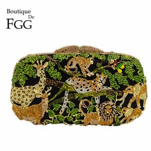 Boutique De FGG Mata Selva Mulheres Crystal animal Zoo Noite Bolsas Partido Diamante Ladies Handbag nupcial do casamento Clutch Bag CJ191210