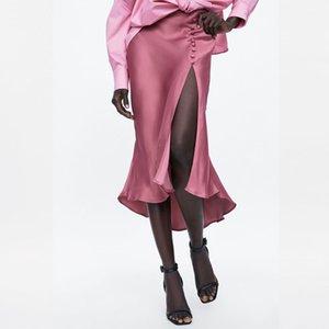 Moda 2020 Rivet assimétrica rosa cetim saia luz mulheres Saias design de alta fenda magro ocasional Senhora do escritório Verão drapeado vestidos saia midi