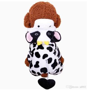 Coral Velvet quattro piedi Doggy Clothes Panda Aggiungi villi animali Abbigliamento Cappuccio Cap Dog Maglione Autunno Inverno Wear Poodle Bella 10 4mdb1