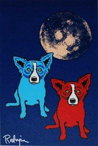 Moon Home Decor расписанной HD Картина печати Масло Джордж Rodrigue голубой собаки Косм на холст Wall Art Pictures 200114