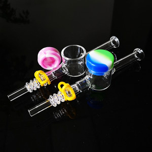 Verre de paille Nector Collector Kit Dab paille NC Kit avec 10 mm 14 mm Quartz Nail Tip Jar silicone Keck clip Smoking Pipe en verre Mini Bong Oil Rig