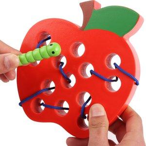De madeira bug comer fruta bebê segmentação brinquedo lagarta torcido insetos usando corda início da educação brinquedo jogo de puzzle Early education gift