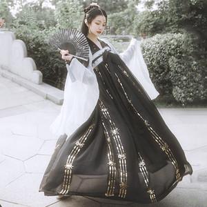 2020 Sequin Hanfu Sequin Fairy Dress Mantel Tops 6 Meter Röcke Festival Cosplay Antike Volkstanz Hanfu Sets Abnutzung der Frauen 3830
