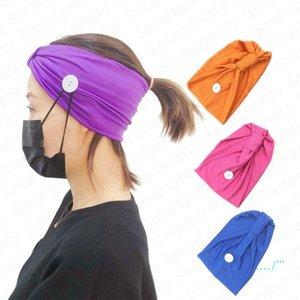 Mulheres Meninas Headband cor sólida Sports Gym Knit Hairband Com Botão Wearable Rosto máscara protetora auriculares com atenuação absorção do suor Hairlace E4911