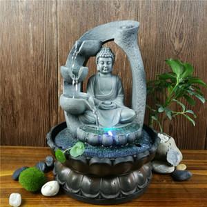 Tavolino della decorazione resina Zen Lotus Buddha Statue Fontana Led FengShui Figurine Home Office Meditazione spazio ornamenti del giardino