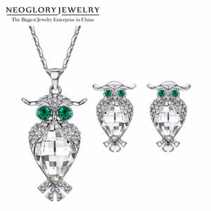 Neoglory Kristalleri Baykuş Kolye Küpe Düğün Takı Setleri Kadınlar Için 2019 Yeni MS Swarovski Kristalleri ile Süslenmiş