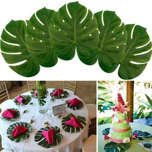 12 Pc Simülasyon Yeşil Yapraklar Yeşil Yapay Tropik Palmiye Yapraklar Hawaii Luau Ev Partisi Tablo Dekor Yapay Yeşil Yapraklar