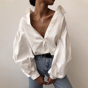 Womens Blanc Designer Shirts Fashion Lantern manches Lapel cou Chemises habillées solides Femmes Noir Blouses Chemises