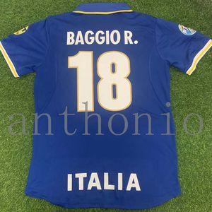 Top 1990 ИТАЛИИ ретро футбол Джерси Скиллачи Baggio R. 18 DEL PIERO 10 ITALIA 1996 футбола рубашка Анчелотти Maglia да калсио старинные Майо