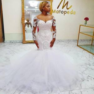 Luxury Mermaid Wedding Dresses Major Beaded vestidos Long Sleeves Sheer Neck Bridal Dress Sheer Long Sleeves Plus Size Wedding Gowns