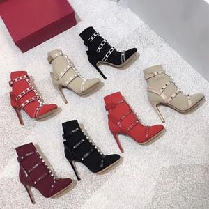 Zapatos del calcetín correas del tobillo de punto invierno de las mujeres botas de tacón alto de la jaula Stud Botas chicas Negro Rojo zapatos de moda 105 mm Tamaño: 34-41