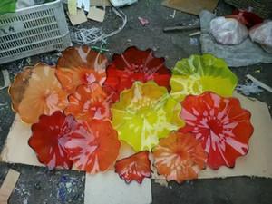 Duvar Murano Cam Duvar Sanatı Üflemeli% 100 Hand asmak için romantik Müşteri Yapımı Renk / Boyut Çiçek Tabaklar