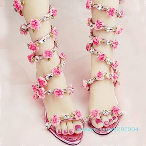 Women Wedding Sandals 2016 Crystal and Pink Flower Women Gladiator Sandal Summer Dress Shoes Wedge Heel Open Toe Bridal Boots s04