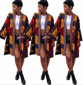 Donna New Fashion Medio Lungo Giacche Primavera Estate accappatoio tipo giacca Vintage Flora Stampa cappotti firmati da
