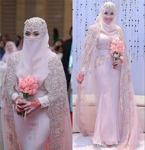 Lindo Árabe Muçulmano Vestidos de Casamento 2020 Alta Neck Lace Applique Mangas Compridas Bainha Rosa Vestidos de Casamento Vestidos De Noiva Com Envoltórios