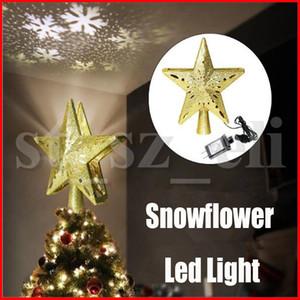 Noël Tree Top étoile lumières Décorations étoiles Snowflower Lumière Props Led Cinq étoiles Glowing Snowflakes flash Or Argent US EU UK AU plug