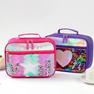 Sequin Lunch Boxes Kinder Insulated Glitzer-Einkaufstasche Glänzende Schule Picknick-Nahrungsmittelkasten-Speicher-Fall OOA7614