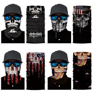 Windproof Skull Mouth Mask Seamless Magic Bandanas Outdoor Sports Washouts Ride Muffler Skull Scarf Face Mask Cycling#572