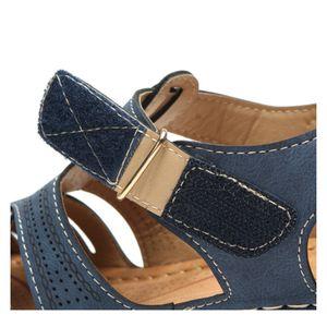 Женщина сандалии лето Vintage сандалии пряжки вскользь Шитье Женская обувь Твердые Женщины платформы обувь клинья каблуки Сандалии женские