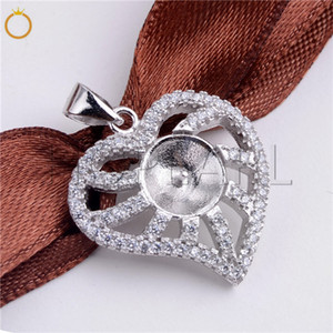 HOPEARL Jewelry DIY 925 Sterling Silver Heart Pendant Pave Cubic Zirconia Pearl Pendant Findings 3 Pieces