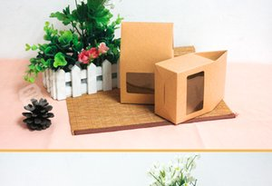 10*21.5*6cm Brown Kraft Packaging Box Pouch W  Clear Window For Cake Cookie Food Storage Standing Up Paper Packing Bag 20Pcs Lot