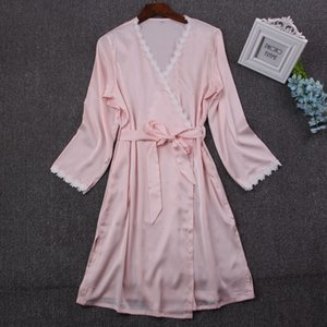 Women 2020 Sexy Lace Silk Robe Gown Set Sleep Dress Bathrobe Two Piece 5 Color Robe Bridesmaid Wedding Sleepwear