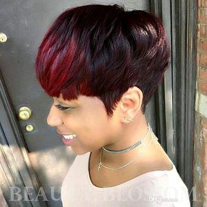 Court Perruques Cheveux rouges Mettre en évidence Bangs Pixie Cut Capless perruques de cheveux humains pour la femme noire