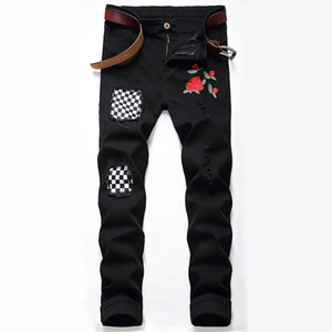 2020 New camouflage jeans new summer fashion designer men's clothing set up riding casual hip hop jeans hole slim jeans denim trousers 32-40