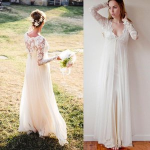 A Line Beach Wedding Dresses Long Sleeves V Neck With Back Zipper Bridal Gowns Chiffon Plus Size Wedding Dresses